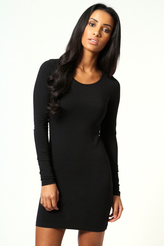 Black long sleeve bodycon dress no sleeves