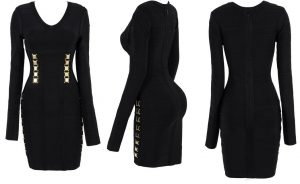 Black Long Sleeve Bandage Dress