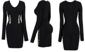 Black Long Sleeve Bandage Dress