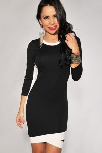 Bodycon Midi Dress With Long Sleeve
