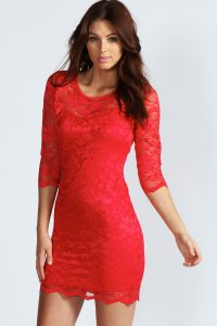 Long Sleeve Red Bodycon Dress