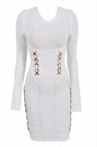 Long Sleeve White Bandage Dress