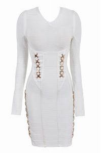 Long Sleeve White Bandage Dress