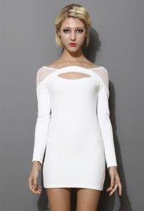 White Long Sleeve Bodycon Dress