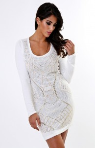 White Long Sleeve Dress Bodycon