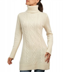 White Turtleneck Sweater Dress