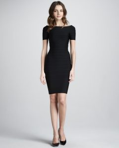 Black Bandage Dress Cap Sleeve