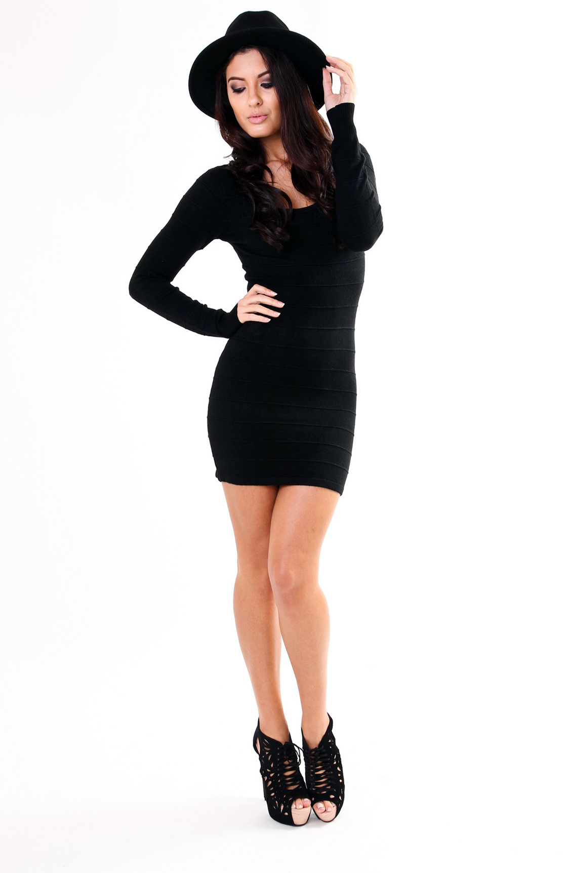 Black long sleeve tight dress