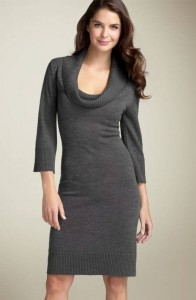 Black Cowl Neck Sweater Dress