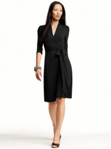 Black Faux Wrap Dress