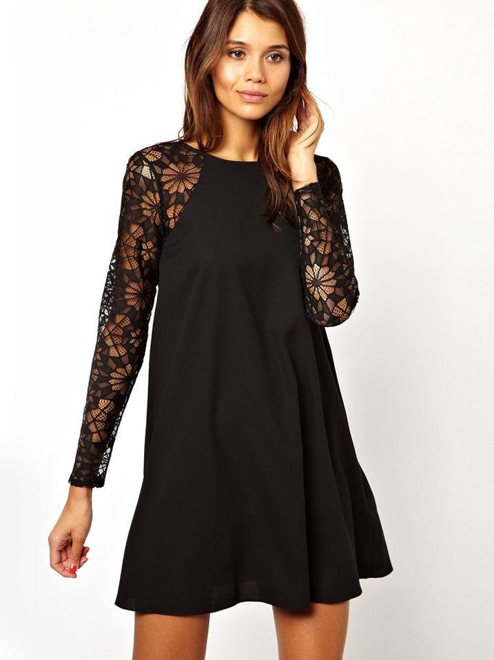 Short Black Lace Dress With Sleeves Black Lace Short Dress