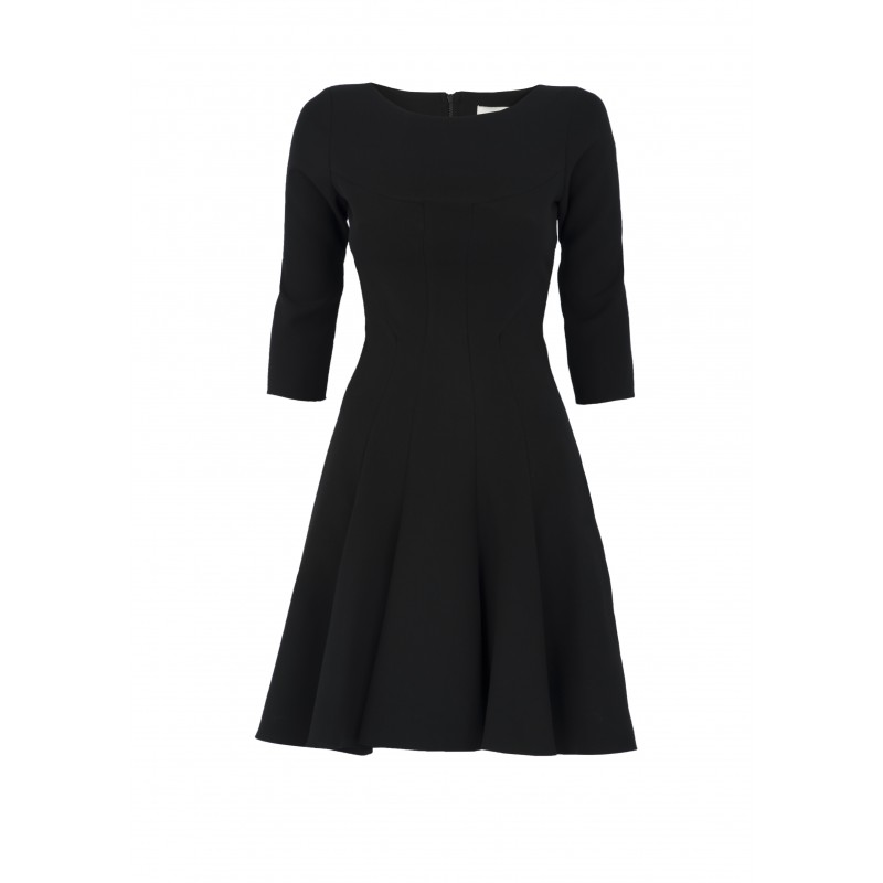 READ MORE: Ideal Shoes for Your Little Black Dress. 3. Wear a skater dress with boots. The wedge is yet another comfortable shoe and also a stunning pair to style with the skater dress. Get a nice and comfortable pair of wedges and rock it with your beautiful skater dress or skirt.
