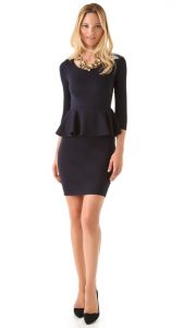 Black Long Sleeve Peplum Dress