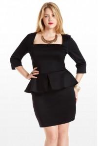 Black Peplum Dress Plus Size