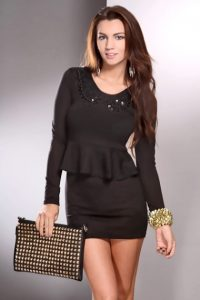 Black Peplum Dress With Sleeves