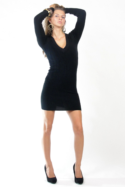 Black sweater dress dressed up girl