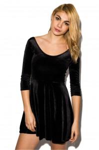 Black Velvet Skater Dress