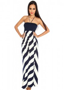 Black White Chevron Maxi Dress