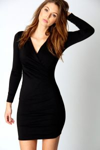Black Wrap Dress Long Sleeve