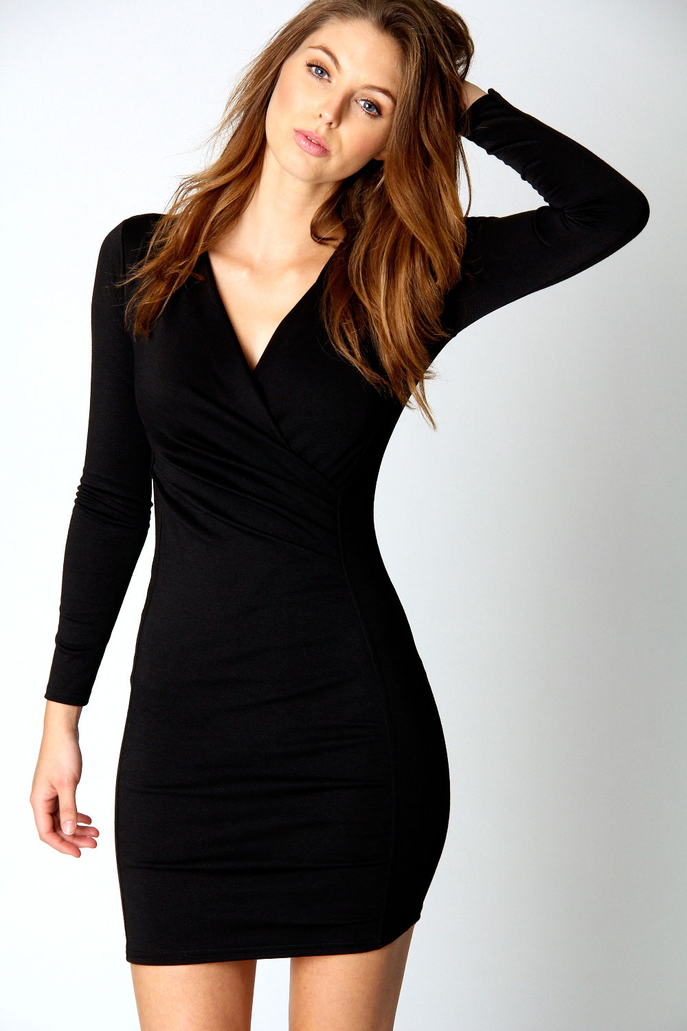 black wrap dress dressed up girl