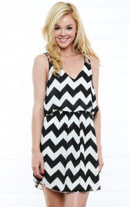 Black and White Chevron Print Dress