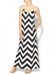 Black and White Chevron Stripe Maxi Dress