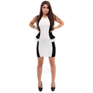 Black and White Peplum Dress