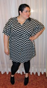 Black and White Plus Size Chevron Dress