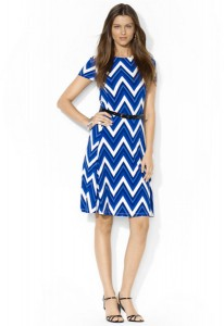 Blue Chevron Print Dress