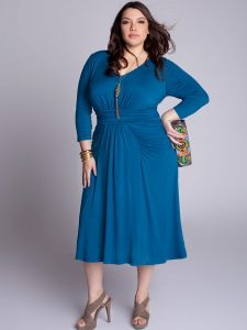 Blue Plus Size Wrap Dress