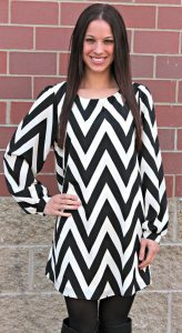 Chevron Black and White Maxi Dress