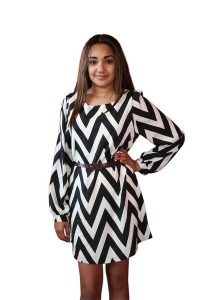Chevron Dress Black and White