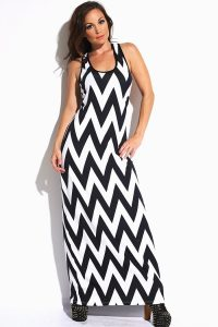 Chevron Maxi Dress Black and White