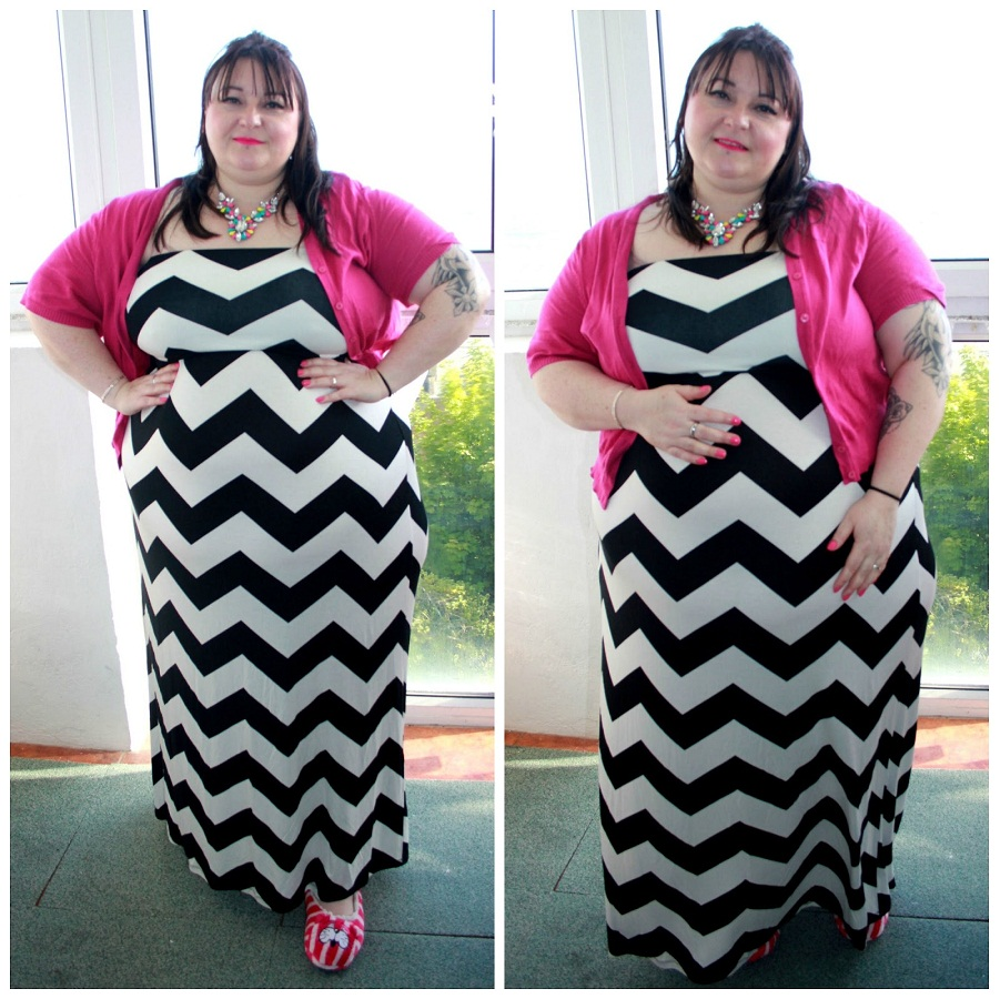 Plus Size Chevron Maxi Skirt - Skirts