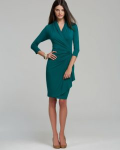 Full Sleeve Faux Wrap Dress
