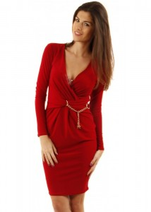 Full Sleeve Red Wrap Dress