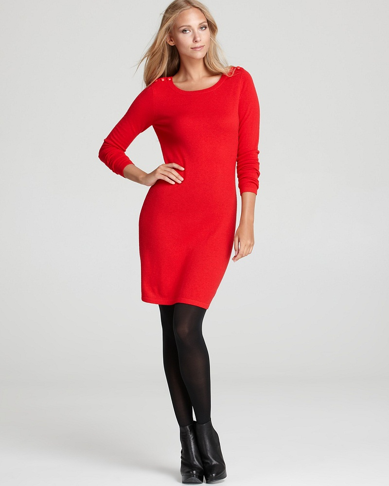 Red Sweater Dress - Long Sweater Jacket