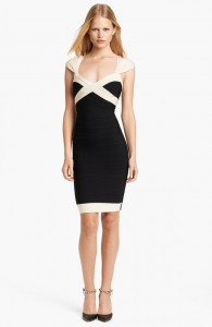Herve Leger Black and White Bandage Dress