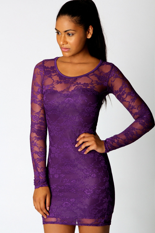Purple dresses long sleeve