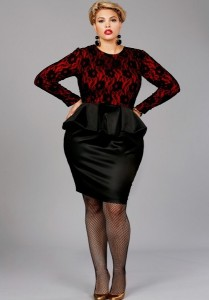 Lace Peplum Dress Plus Size