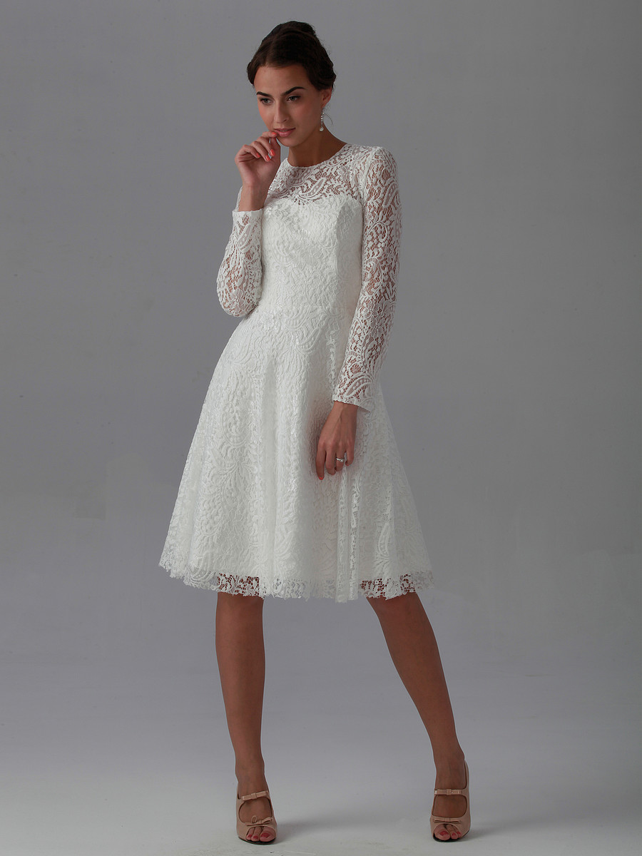 More Details ML Monique Lhuillier Long-Sleeve Lace Dress w/ Ruffle Front Details ML Monique Lhuillier lace dress with ruffle front. Approx. 36