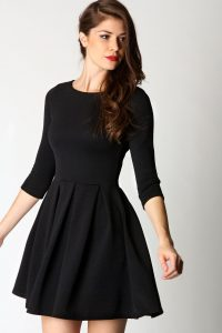 Long Sleeve Black Skater Dress