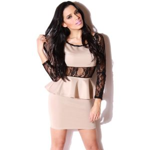 Long Sleeve Lace Peplum Dress