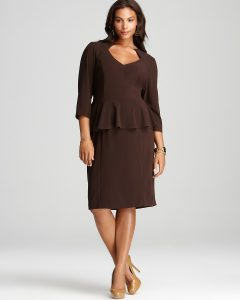 Long Sleeve Peplum Dress Plus Size