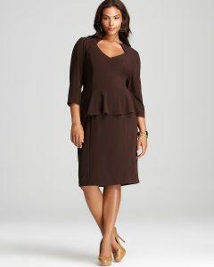 Long Sleeve Peplum Dress Plus Size