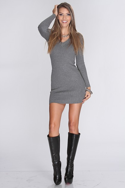 Long Sleeve Sweater Dress - Dressed Up Girl