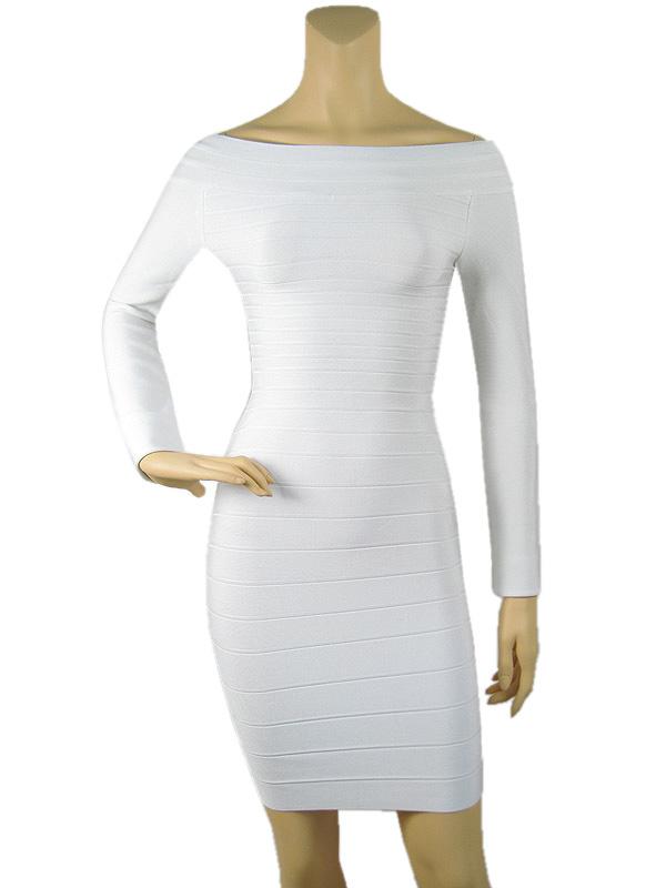 White Long Sleeve Bandage Dresses