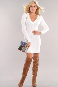 Long Sleeve White Sweater Dress