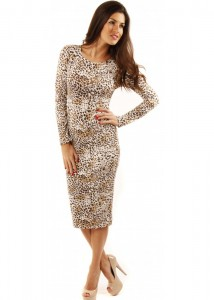 Midi Bodycon Dress With Long Sleeves