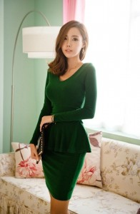 Peplum Dress With Long Sleeves